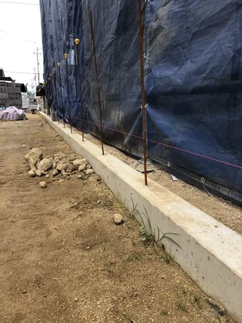 境界ブロック工事 糸張り1段目