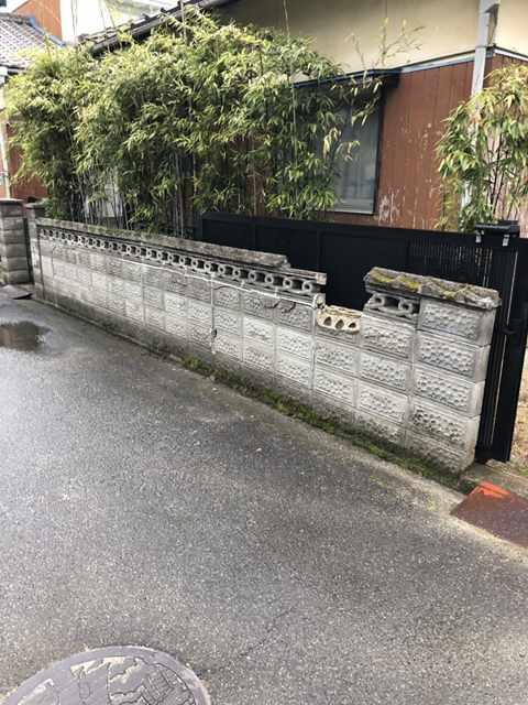 今治市で境界ブロック積み直し工事をしました。