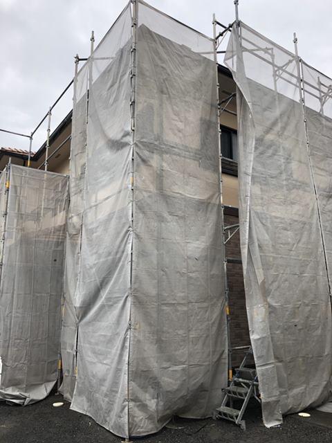 外壁塗装 足場 高圧洗浄